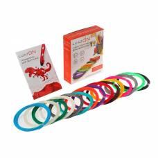 Набор LuazON пластик PLA + трафареты, для 3Д ручки, длина 10 м, 15 цветов в наборе Luazon