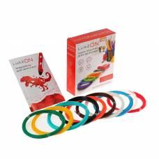 Набор LuazON пластик PLA + трафареты, для 3Д ручки, длина 10 м, 10 цветов в наборе Luazon