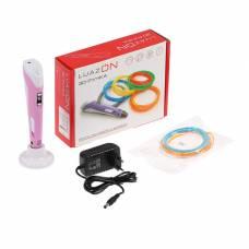 3D ручка LuazON, ABS и PLA, с дисплеем, розовая  (+ пластик, 3 цвета) Luazon