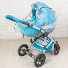 Дождевик на коляску-люльку из прозрачной плёнки Божья коровка