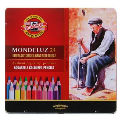 Карандаши Koh-I-Noor 3724/24 Mondeluz акварельные, 24 цвета, в металлическом пенале Koh-i-Noor