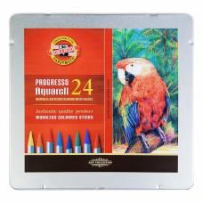 Карандаши художественные Koh-I-Noor Progresso Aquarell 8784, цветные акварельные, 24 цвета, цельнографитные, в металлическом пенале Koh-i-Noor