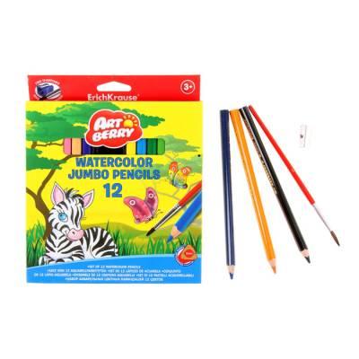 Акварельные карандаши Jumbo с точилкой и кисточкой, 12 цветов Erich Krause