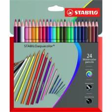 Карандаши художественные цветные акварельные Stabilo Aquacolor 24 цвета, в картонной коробке Stabilo