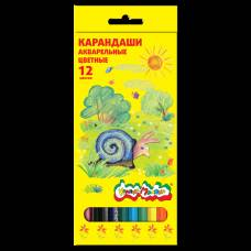 Набор из 12 акварельных цветных карандашей, 12 цветов Каляка-Маляка