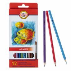 Карандаши акварельные Koh-I-Noor Fish 3716/12, 12 цветов, картонная коробка, грифель 3 мм, европодвес Koh-i-Noor