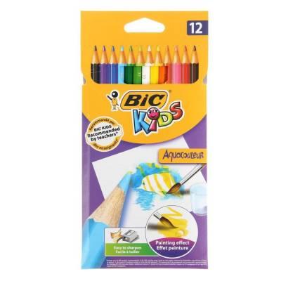 Карандаши акварельные 12 цветов BIC Kids Aquacouleur CubicFun
