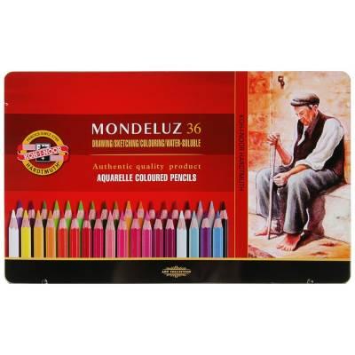 Карандаши акварельные Koh-I-Noor 3725/36 Mondeluz, 36 цветов, в металлическом пенале Koh-i-Noor