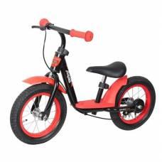 Детский беговел KidRun 12 с ручным тормозом, красно-черный Moby Kids