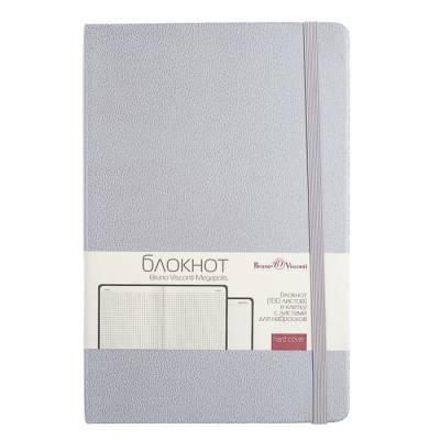 Бизнес-блокнот А5, 100 листов Megapolis Journal, искусственная кожа, тонированный блок, ляссе, на резинке, серебро BrunoVisconti