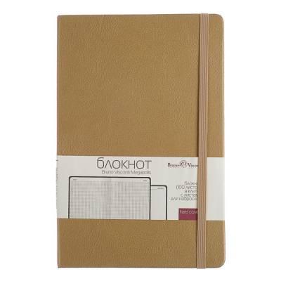 Бизнес-блокнот А5, 100 листов Megapolis Journal, искусственная кожа, тонированный блок, ляссе, на резинке, золотой BrunoVisconti