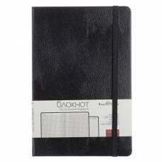 Бизнес-блокнот А5, 100 листов Megapolis Journal, искусственная кожа, тонированный блок, ляссе, на резинке, чёрный BrunoVisconti