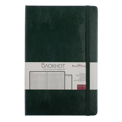 Бизнес-блокнот А5, 100 листов Megapolis Journal, искусственная кожа, тонированный блок, ляссе, на резинке, зелёный BrunoVisconti
