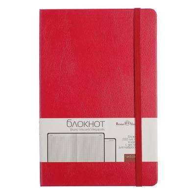 Бизнес-блокнот А5, 100 листов Megapolis Journal, искусственная кожа, тонированный блок, ляссе, на резинке, красный BrunoVisconti