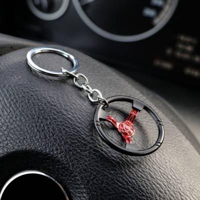 Брелок руль, металл, черно - красный Sima-Land