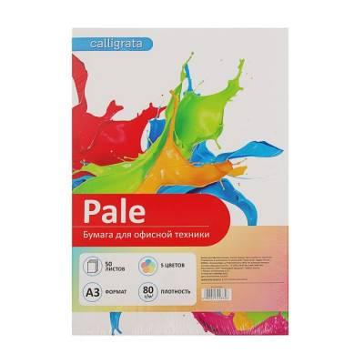 Бумага цветная А3, 50 листов Calligrata Пастель, 5 цветов, 80 г/м² Calligrata