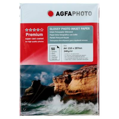 Фотобумага AGFA А4, 240 г/м², 50 листов, глянцевая, в пакете GF