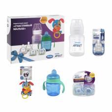 Набор: «Счастливый малыш» для мальчиков, 7 предметов: бутылочка, соски, пустышки, поильник, игрушка Philips Avent