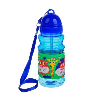 Поильник детский с трубочкой «Зоопарк», 380 мл, от 9 мес., цвет синий Крошка Я