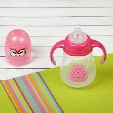 Бутылочка для кормления антиколиковая «Птенчик», с ручками, 280 мл, от 0 мес., цвет розовый Крошка Я