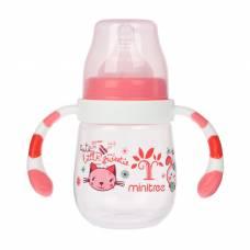 Бутылочка для кормления с ручками, 180 мл, от 3 мес., цвет красный Sima-Land