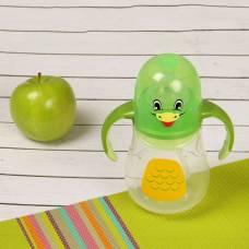Бутылочка для кормления антиколиковая «Птенчик», с ручками, 280 мл, от 0 мес., цвет зелёный Крошка Я