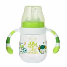 Бутылочка для кормления с ручками, 180 мл, от 3 мес., цвет зелёный Sima-Land