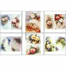 Набор декупажных карт 6 шт «Винтажные цветы» Sima-Land