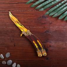 Сувенир деревянный «Нож бабочка, жёлтые линии» Sima-Land
