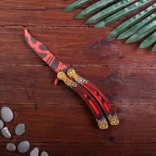 Сувенир деревянный «Нож бабочка, красные линии» Sima-Land
