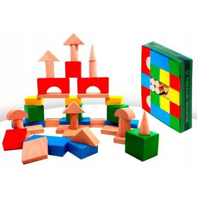 Деревянный конструктор, цветной, 42 детали Престиж