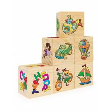 Кубики Игрушки фигуры, обувь, дикие животные, транспорт, еда, сказки, 6 кубиков Анданте