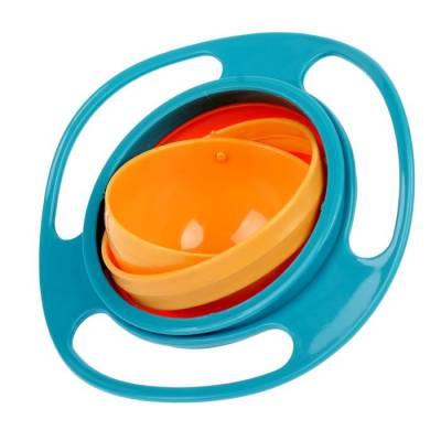 Детская миска «Тарелка-неваляшка», цвет синий/оранжевый Крошка Я