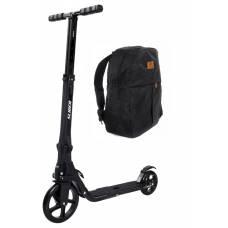 Двухколесный самокат Premium с рюкзаком, складной, черный Slider