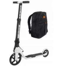 Двухколесный самокат Premium с рюкзаком, складной, белый Slider