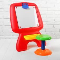 Доска для рисования со стульчиком, в комплекте, маркер, губка,  набор букв и цифр Sima-Land