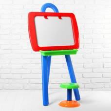 Доска для рисования двусторонняя, в комплекте мольберт, стульчик, маркер, набор букв и цифр   289501 Sima-Land