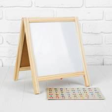 Доска для рисования двустороняя на ножках, с мелками и маркерами и магнитным алфавитом, рабочее поле: 22,5 × 23 см Sima-Land