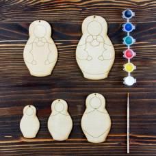 Набор для творчества «Учимся рисовать матрёшку», 5 фигурок, акриловые краски, кисть, буклет Sima-Land