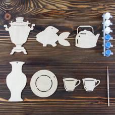 Набор для творчества «Гжель», 7 фигурок, акриловые краски, кисть, буклет Sima-Land