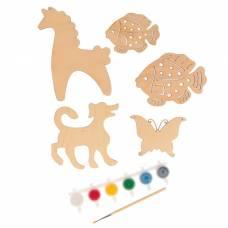 Набор для творчества «Животные», №6, 5 фигурок, акриловые краски, кисть, буклет Sima-Land