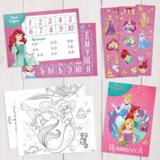 Подарочный творческий набор: наклейки, блокнот, раскраски, обучающие карточки, Принцессы Disney