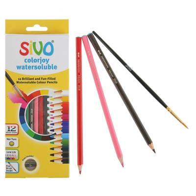 Акварельные карандаши Colorjoy с кисточкой и точилкой, 12 цветов Sivo