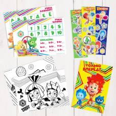 Подарочный творческий набор: наклейки, блокнот, раскраски, обучающие карточки,