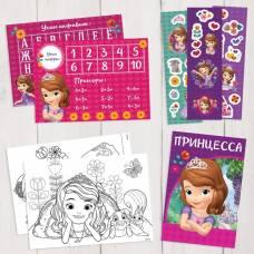 Подарочный творческий набор: наклейки, блокнот, раскраски, обучающие карточки, София Прекрасная Disney