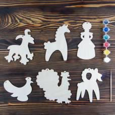 Набор для творчества «Дымковская игрушка», 6 фигурок, акриловые краски, кисть, буклет Sima-Land