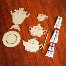 Набор для творчества «Посуда», №1, 5 фигурок, акриловые краски, кисть, буклет Sima-Land