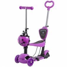 Самокат-кикборд 2 в 1 Disco-Kids (светятся колеса), фиолетовый Novatrack