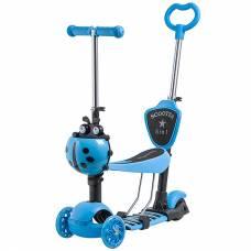Самокат-трансформер Disco-kids (светятся колеса), голубой Novatrack