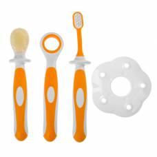 Зубная щётка детская, набор 3 шт. с ограничителем: силиконовая, с мягкой щетиной, для языка, от 3 мес., цвет оранжевый Крошка Я